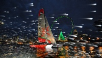 Oman Sail's Masirah night-sailing in Singapore during the Extreme Sailing Series Asia.